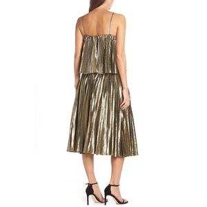 J. Crew Dresses - J. CREW | Gold Lamé Pleated Midi Dress